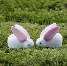 2Pcs Cute MINI Rabbit Bunny Resin Ornament for Home & Garden/Easter Decorations!