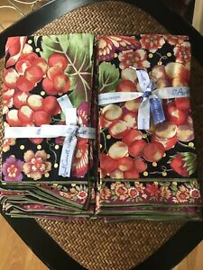 New APRIL CORNELL SET OF 8 NAPKINS Black Cornucopia Dot Fall 20x20
