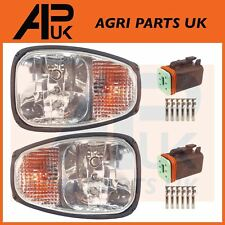 PAIR JCB Loadall Loader Teleporter Front Headlights Headlamps Head Light & Plugs