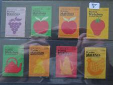 SET 8 BRYMAY 50 MATCHES MATCH BOX LABELS c1970s FRUIT & KITCHEN WARE ITEMS