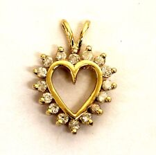 10k yellow gold .24ct I2 H women's diamond heart pendant 1.2g estate