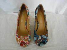 Spot On Textile Wedge Peep Toes Heels for Women