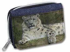 Beautiful Snow Leopard Girls/Ladies Denim Purse Wallet Christmas Gift I, AT-47JW