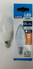10 x Status 5.5w=40w LED Candle Light Bulbs E14 Small Screw SES Cool White 4000K