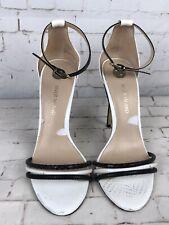 River Island ladies white & black ankle strap heels sandals shoes UK 5