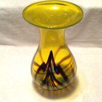 "BRIGHT YELLOW Art Glass W/ BROWN Decor & Hand Blown 11 1/2"" T VASE"