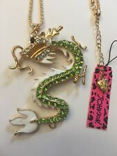 Betsey Johnson Necklace CHINESE DRAGON CLEAR Crystal AND GREEN-BJ15004