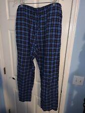 Men's Saddlebred Pajamas Sleepwear Bottom Pants Flannel Blue Size XLT