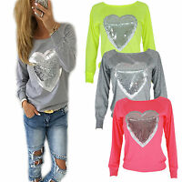 Womens Sequin Sweatshirt Long Sleeve Glitter Heart Print Loose Sweater Sports