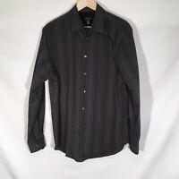 Van Heusen Button Up Dress Shirt Black Multicolor Mens Size 15 15.5 Long Sleeve