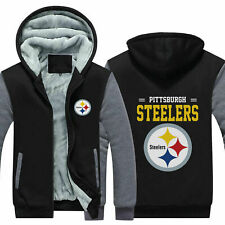 Pittsburgh Steelers Fans Hoodie Fleece zip up Coat winter Jacket warm Sweatshirt