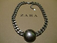 Zara mega statement Panzer Kette necklace boho top Blogger silber massiv