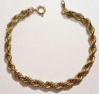 bracelet rétro maillon rond finement torsadé bijou vintage couleur or * 3374