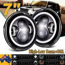 "2x 7""inch Round LED Halo Angle Eyes Car Headlights for Jeep Wrangler TJ/LJ/CJ/JK"