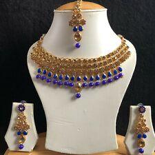 BLUE BEIGE GOLD INDIAN KUNDAN JEWELLERY NECKLACE EARRINGS CRYSTAL SET NEW 198