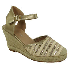 WOMENS LADIES GLITTER ANKLE STRAP BUCKLE ESPADRILLES WEDGE SHOES SANDALS SIZE