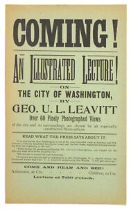 1890s George Leavitt STEREOPTICON MAGIC LANTERN LECTURE Broadside WASHINGTON DC