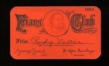 RARE 1934 RUDY VALLEE FRIARS CLUB ORIGINAL MEMBERSHIP CARD SIGNED CHECK PSA/DNA