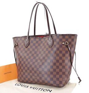 Authentic LOUIS VUITTON Neverfull MM Damier Ebene Tote Bag Purse #29443
