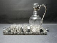 Silber, Karaffenset, Gläser, Tablett, geschliffenes Glas, 800er Silber,