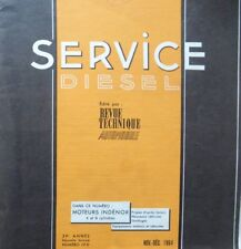 Revue technique SERVICE DIESEL moteurs INDENOR 4 et 6 cyl XDP TDM RTA 10D 1964