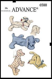 Stuffed Animal PUPPY Dog PAJAMA BAG Child ADVANCE 6588 Vtg 50's Sewing Pattern