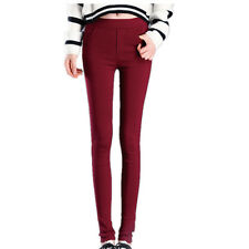 Women Full Length Stretch Leggings Slim High Waist Trouser Size 8 10 12 14 Dark Red 8