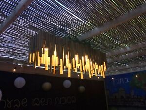 Natural Bamboo Chandelier, Customized to size needed, and light type needed