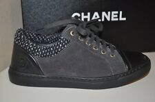 NIB CHANEL 15A Grey Gray Black Suede Tweed Low Top Lace Up Sneaker Shoes 36 - 6