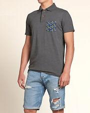 NWT HOLLISTER by A&F Mens Pattern Pocket Polo Grey Size XL