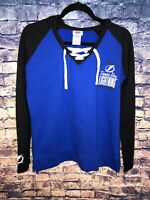 Womens NHL Majestic Tampa Bay Blue/Black Lightning Hoodie Pullover Size L Rare🔥