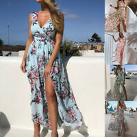 Women's Bohemian Maxi Dress Floral Printed Wrap V Neck Short Sleeve Beach Party