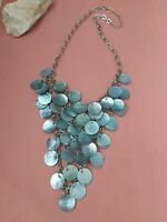 Vintage silvertone blue mop mother of pearl cluster bib collar necklace  18.5""