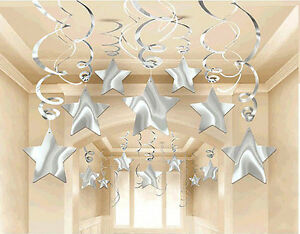 New Year Eve Party Decor SILVER SHOOTING STAR Hanging Swirls Wedding Birthday 30