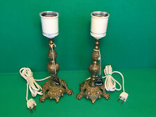 2 VINTAGE Danish CAST BRASS BRONZE Table Lamps Original Tags Unused DENMARK 10""