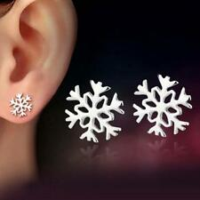 Women Fashion 925 Silver Plated Snowflake Flower Ear Studs Earrings Jewelry BL