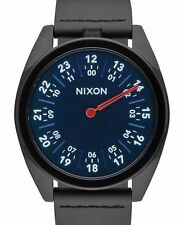 New Nixon A9262315 Genesis Blue Red Leather Watch Black One Hand Watch