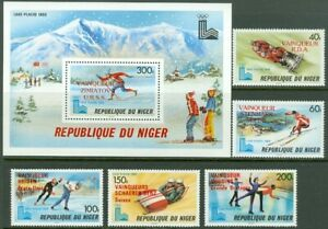 EDW1949SELL : NIGER 1980 Sc #501-06 Olympics. Scarce Cplt set & S/S Ovpt in RED.