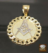 "REAL 10K Yellow Gold Miami Cuban Design Masonic Charm Pendant 1.5"", For Men's ,N"
