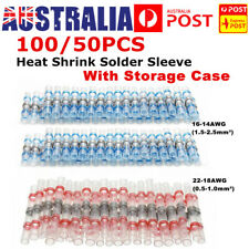 100X Heat Shrink Solder Sleeve Butt Wire Crimp Connector Terminal Kit Waterproof