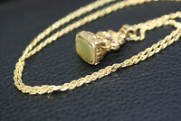 """Antique Victorian 1900's Agate Seal Solid 9K Gold Pendant 10K Rope Necklace 18"""""""