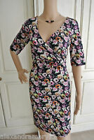 Fab H&M Floral Print Crossover Twist Front Dress 6 8 10 12 14 16 18 20 22 24
