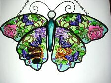 """AMIA STAINED GLASS SUNCATCHER 10.25"""" x 7"""" ROSES BUTTERFLY #5591"""