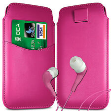 CARD SLOT PU LEATHER PULL FLIP TAB CASE COVER & EARPHONES PEN FOR HTC PHONES