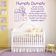 Humpty en la pared vinilo de Adhesivo Calcamonía para habitación Nursery Rhyme