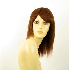 perruque femme 100% cheveux naturel châtain clair cuivré ref IRINA  30
