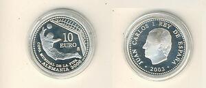 Espagne 10 Euro 2003 Coupe Du Monde de Football en Allemagne Pp Argent (M00418)