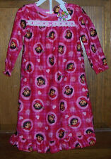 Dora the Explorer Pink Red Long Flannel Granny Nightgown Toddler Girls 3T NWT