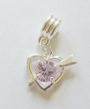 "1 Silver Plated "" Heart""  Dangle  Charm - Fit Charm Bracelet - Pink Rhinestone"