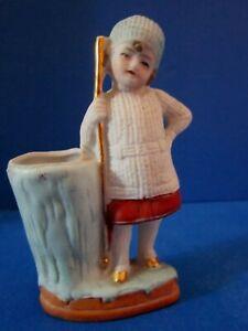 "Antique German Bisque toothpick/ match holder. Girl sweater w/ gold staff 4"""